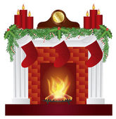 Fireplace with Christmas Decoration Illustration — Stock Vector