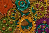 Wooden Gears on Wood Grain Texture Background — Stock Photo