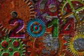 2014 Rusty Gear on Grunge Texture Background — Stock Photo