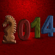 2014 Chinese Horse 3D Wood Block Red Background — Stockfoto