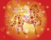 2014 Happy New Year of the Horse with Snowflakes Pattern — Stock Vector
