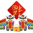 Chinese Lion Dance Pair with Symbols Illustration — Stock Photo #36531325