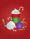 Christmas Espresso Drink To Go Cup with Background Illustration — Stock Vector