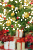Christmas Tree with Presents Blurred Background — Stock Photo