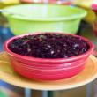 Cranberry Sauce in Red Bowl Closeup — 图库照片