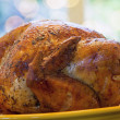 Cooked Turkey on Yellow Platter Closeup — Photo
