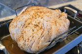 Seasoned Uncooked Turkey in Roasting Pan Closeup — Stock Photo
