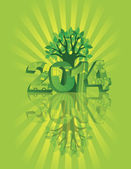 2014 Go Green with Symbols and Tree Sunray Background — Stock Vector