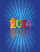 2014 Happy New Year of the Horse with Sunray Background — 图库矢量图片