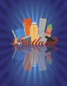 Portland Oregon Abstract Skyline Sunray Background Illustration — Stock Vector