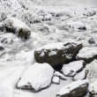 latourell falls creek in winter ice and snow — Stock Photo