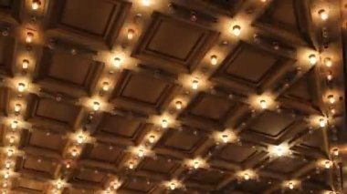 Theater and Concert Hall Ceiling with Retro Flashing Marquee Lights in Downtown 1080p — Stock Video
