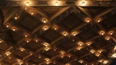 Theater Ceiling with Retro Flashing Marquee Lights in Downtown 1080p — Stock Video