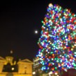 Stock Photo: Christmas Tree with Moon at Pioneer Courthouse Square Bokeh Ligh