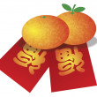 Chinese New Year Oranges and Red Money Packets Illustration — Stock Vector