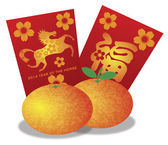 2014 Chinese New Year of the Horse Oranges and Red Money Packets — Stock Vector