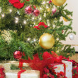 Christmas Tree with Decorations and Wrapped Gifts — Stock Photo