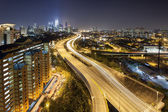Ampang Kuala Lumpur Elevated Highway City Skyline at Dusk — Stock Photo