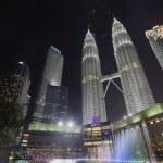 Kuala Lumpur KLCC Park Skyline by Water Fountain — Stock Photo