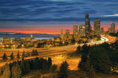 Seattle Cityscape After Sunset — Stock Photo