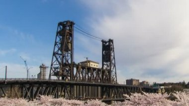 Flowering Cherry Blossom Trees Spring Season with Moving Clouds and Blue Sky along Willamette River Waterfront in Portland Oregon Time Lapse 1080p — Stock Video