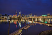 Portland Waterfront Skyline at Blue Hour — Stock Photo