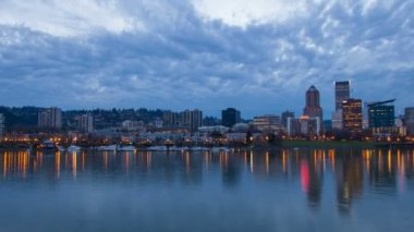 Portland Oregon Downtown Skyline along Willamette River with Hawthorne Bridge Moving Clouds and Colorful Water Reflection at Blue Hour Dusk Time Lapse 1080p — Stock Video