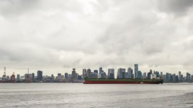 Port of Vancouver BC British Columbia Canada with City Skyline Moving Stormy Clouds Ferries and Boats Time Lapse 1080p — Stock Video