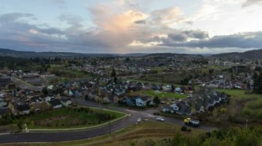 View of Suburban Homes and Living in Happy Valley Oregon at Colorful Sunset with Moving Clouds Time Lapse 1920x1080 — Stock Video