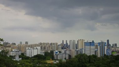 View of Planned Public Housing HDB Apartment Flats and Condominiums Buildings in Telok Blangah District in Singapore Moving Clouds Time Lapse from Henderson Wave Bridge 1080p — Stock Video