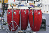 Trio of Red Conga Drums — Stock Photo