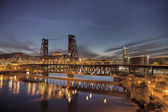 Steel Bridge Over Willamette River at Blue Hour — Stock Photo