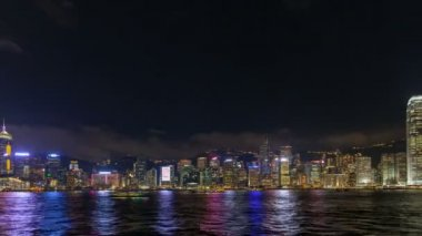 Time lapse of Symphony of Lights show at Central Hong Kong viewed from Tsim Sha Tsui in Kowloon, Hong Kong. This is a nightly lights and sound show and is a big draw among tourists and locals 1080p — Stock Video