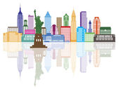 New York City Skyline Color Illustration — Stock Vector