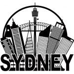 Sydney Australia Skyline Circle Black and White Illustration — Stock Vector #50378607