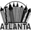 Atlanta Skyline Circle Black and White Illustration — Stock Vector #50502637