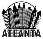 Atlanta Skyline Circle Black and White Illustration — Stock Vector