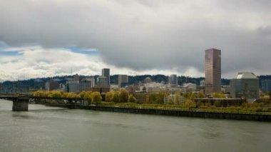 Portland Oregon Downtown Cityscape along Willamette River Waterfront — Stock Video