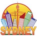 Sydney Australia Skyline Circle Color Illustration — Stock Vector #51038615
