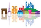 Paris City Skyline Silhouette Color Illustration — Stock Vector