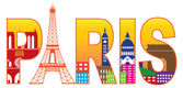 Paris City Eiffel Tower Silhouette Text Color Illustration — Stock Vector