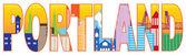 Portland oregon skyline tekst omtrek kleur illustratie — Stockvector
