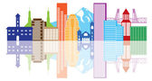 Portland Oregon Skyline Color Illustration — Stock Vector