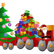 Santa Reindeer Snowman in Train with Gifts and Christmas Tree — Stock Photo #7949319