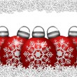 Five Red Ornaments Sitting on Snowflakes — Stock Photo #7992816