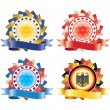 Award ribbon rosettes. National flag colors.(vector, CMYK) — 图库矢量图片