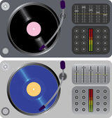 Two dj turntables isolated on white — Stock Vector