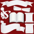 Vector paper banners, scrolls and diploma set — Stock Vector