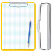 Vector high detailed clipboard, pencil and paper sheet — Stock Vector