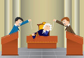 Cartoon judicial sitting(vector, CMYK) — Stock Vector